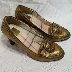 Coach Hillory Metallic Gold Oxford Heels - 9.5